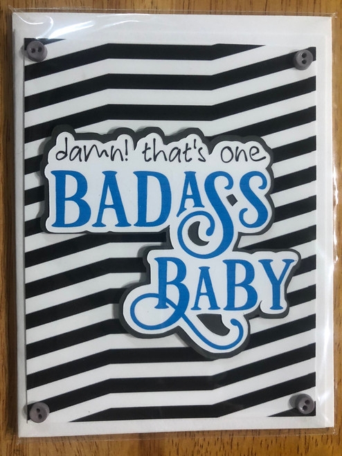 greeting card, handmade card, cool new parents, funny greeting card for baby, greeting card for baby gift, badass baby, funny baby cards, damn that's one badass baby, badass greeting cards, blue