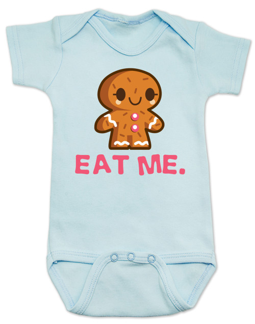 eat me baby bodysuit, funny christmas baby, gingerbread eat me, funny gingerbread, bad humor baby gift, blue
