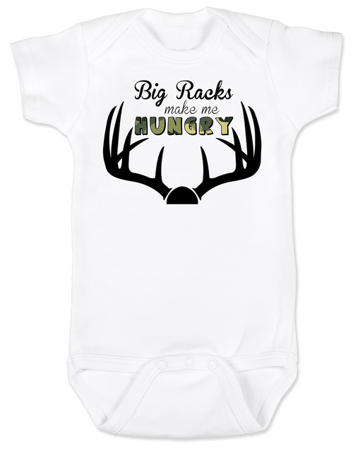 Big Racks make me hungry baby Bodysuit, funny Hunting baby onsie, funny breastfeeding Bodysuit, baby hunter, daddy's future hunting buddy, deer horns, camo baby bodysuit