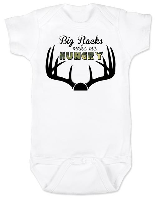 Big Racks make me hungry baby Bodysuit, funny Hunting baby onsie, funny breastfeeding Bodysuit, baby hunter, daddy's future hunting buddy, deer horns, camo baby bodysuit
