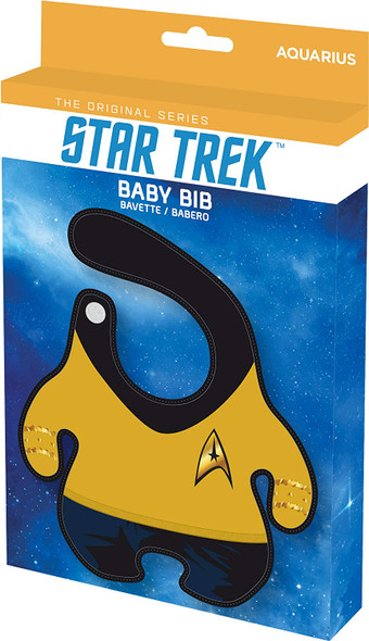 Star Trek Bib, Trekky baby gift, geeky baby shower gift, star trek uniform baby bib, parents who love Star Trek, Beam me up scotty baby, Captain kirk baby, funny baby gift for nerds, Yellow uniform, Captain Kirk baby bib in packaging