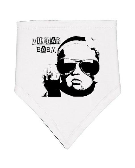 Vulgar Baby Bib, Badass baby bib, vulgar baby brand logo bib, offensive baby bib, black and white banana bib, funny rude baby gift, white bib with vulgar baby logo, front