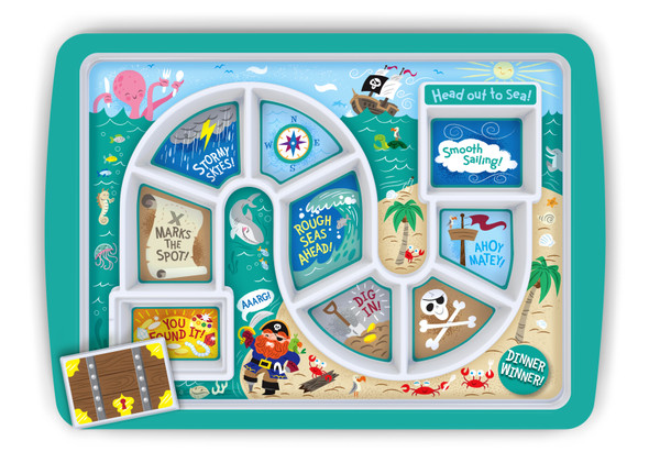 Dinner Winner, Pirate kids plate, fun kids gift, dinner tray for little girls or boys, fun dinner tray, food plate to help picky eaters, Ocean Themed dinner tray, toddler dinner plate, kids Pirates treasure, fun birthday gift for toddlers, Out to Sea Kids dinner tray, in packaging