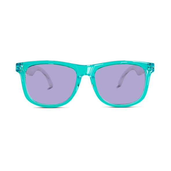 Hipsterkid Aquaberry sunglasses, toddler sunglasses, kids summer sunglasses, aqua blue sunglasses, retro toddler sunglasses, cool kids sunglasses, turquoise and purple toddler glasses, with packaging