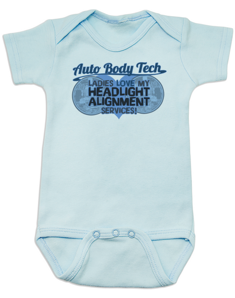 Auto Body Tech Baby Bodysuit, Headlight alignment specialist, funny auto shop baby clothes, Mechanic daddy, baby gift for mechanics and auto body techs, dad works on cars, blue