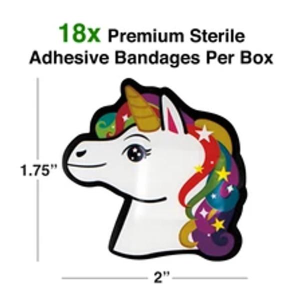 Unicorn Bandaids, unicorn bandages, cute bandaids for kids, cool kids bandages, stickers for cool kids, magical gift for kids, fun gift for kids who love unicorns, bandaids for little girls, Character bandages, colorful unicorn bandages, size dimensions