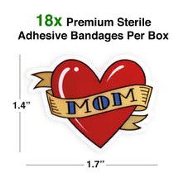 Mom Tattoo Bandaids, Pretend tattoo bandages, heart shaped bandages, cute bandaids for kids, fake tattoo bandages, stickers for cool kids, funny gift for little kids, fun gift for parents who have tattoos, bandaids for cool kids, Character bandages, Heart Mom Tattoo bandages, Size dimensions