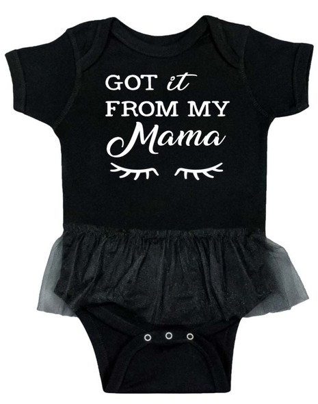 got it from my mommy Tutu baby Bodysuit, Cool baby Bodysuit with tutu, Mommy's Mini Me, fashionable baby girl, Just like Mom baby girl, fashion princess tutu bodysuit, little black dress baby, baby clothes for cool little girls, baby girl just like mama, I got it from my mama, cute black tutu onesie for girls