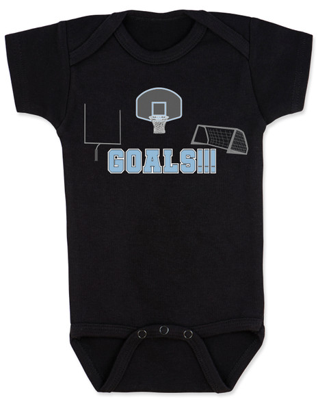 Goals baby bodysuit, sports themed baby gift, funny sports baby onesie, punny sports baby, Goals with goals, sports goals baby bodysuit, basketball baby gift, Soccer baby gift, Football baby gift, baby gift for parents who love sports