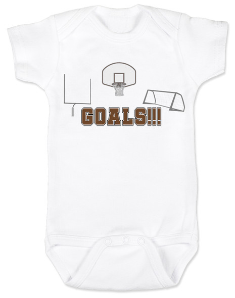 Goals baby bodysuit, sports themed baby gift, funny sports baby onesie, punny sports baby, Goals with goals, sports goals baby bodysuit, basketball baby gift, Soccer baby gift, Football baby gift, baby gift for parents who love sports, white