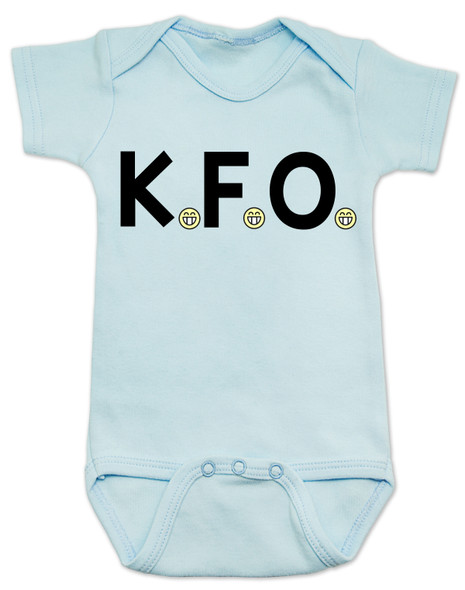 K.F.O. baby bodysuit, KFO baby, funny offensive baby clothes, Kindly Fuck Off, offensive saying on baby bodysuit, rude baby, bad attitude baby bodysuit, blue