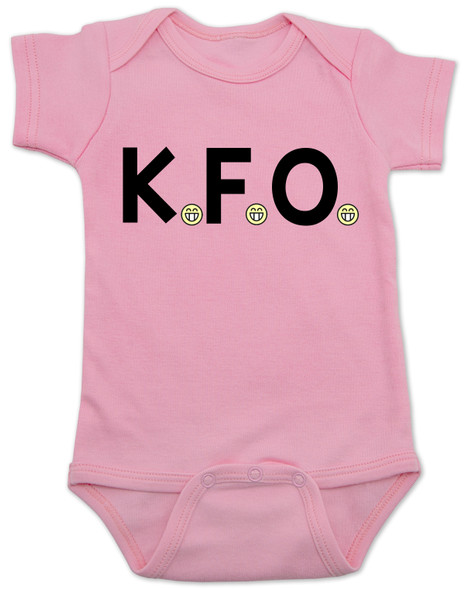 K.F.O. baby bodysuit, KFO baby, funny offensive baby clothes, Kindly Fuck Off, offensive saying on baby bodysuit, rude baby, bad attitude baby bodysuit, pink