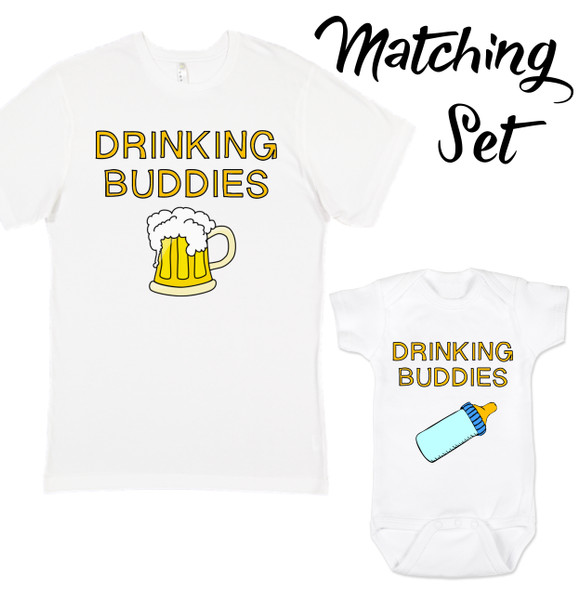 drinking buddies, matching set, mommy and me, daddy and me, matching shirts, parents who drink beer, dads who brew beer gift, gift for new parents who drink, beer mug and bottle matching shirts, men's shirt