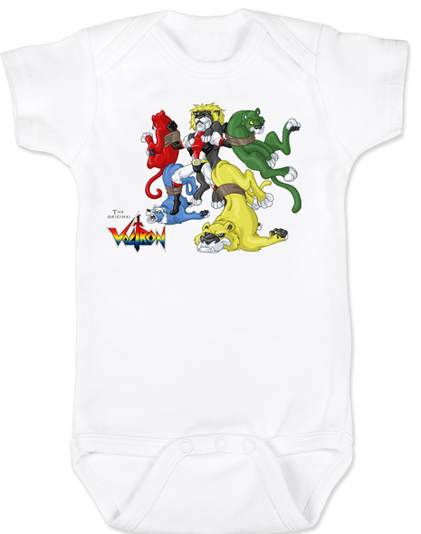 The Original Voltron baby Bodysuit, classic cartoons, defender of the universe