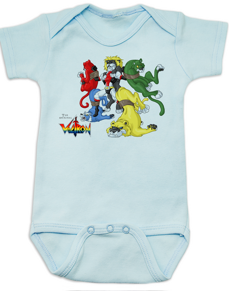 The Original Voltron baby Bodysuit, classic cartoons, defender of the universe, blue