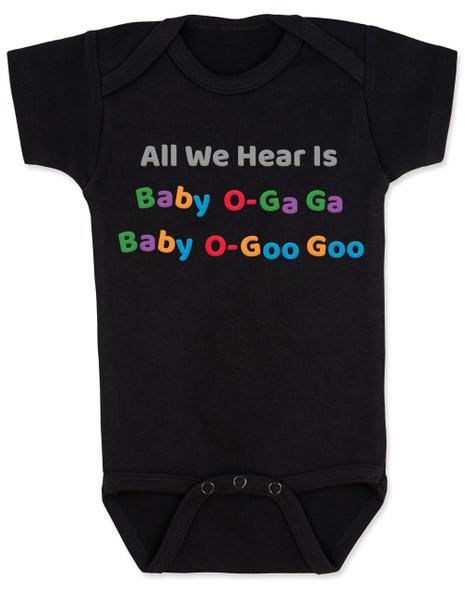 Queen lyrics baby bodysuit, radio gaga baby onesie, baby o-gaga, baby o-goo goo, music themed baby gift, baby gift for parents who like classic rock, baby shower gift for musician parents, band queen baby bodysuit, punny baby bodysuit, black