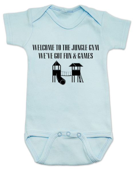 Welcome to the jungle guns and roses, classic rock themed baby gift, rock band baby onesie, Jungle Gym baby bodysuit, guns and roses baby bodysuit, funny rock and roll baby bodysuit, blue