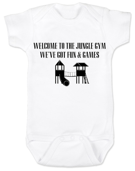 Welcome to the jungle guns and roses, classic rock themed baby gift, rock band baby onesie, Jungle Gym baby bodysuit, guns and roses baby bodysuit, funny rock and roll baby bodysuit, white