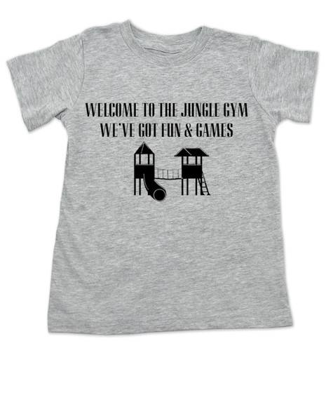 Welcome to the jungle guns and roses, classic rock themed toddler shirt, rock band toddler shirt, Jungle Gym toddler shirt, guns and roses toddler shirt, funny rock and roll kids shirt, grey