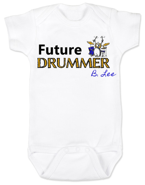 Future Drummer Baby Bodysuit, Musician baby onsie, Drummer like daddy, rock and roll music, band Bodysuit, personalized drummer baby Bodysuit, custom name