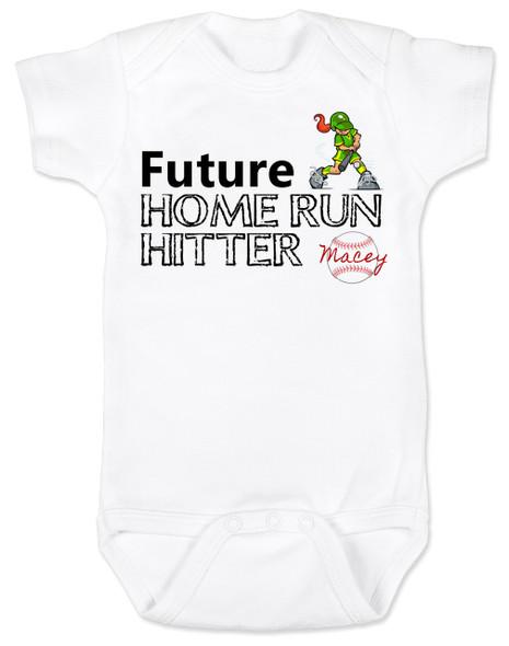 Future Home Run Hitter baby girl Bodysuit, Future Softball Player, Play Ball, Baseball, Softball, Sports baby onsie