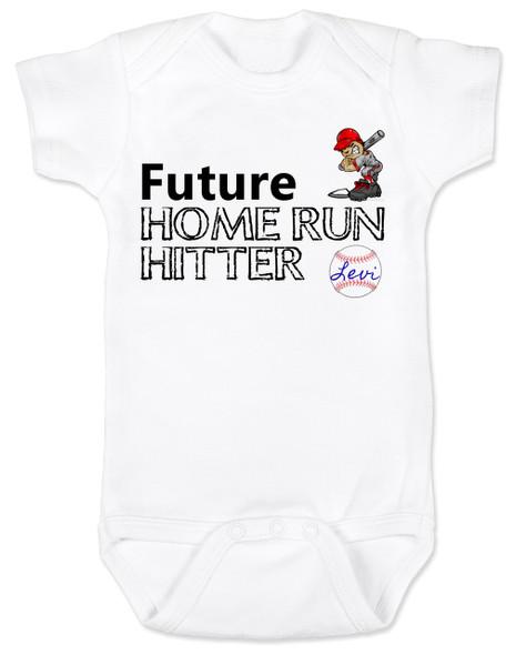 Future Home Run Hitter baby boy Bodysuit, Future Baseball Player, Play Ball, Baseball, Softball, Sports baby onsie