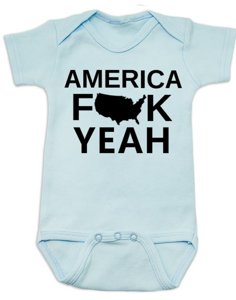 America Fuck Yeah Baby Bodysuit, American pride, funny patriotic baby onsie, badass american baby, 4th of july Bodysuit, memorial day Bodysuit, veterans day Bodysuit, Team America song, Team America: World Police Movie, blue
