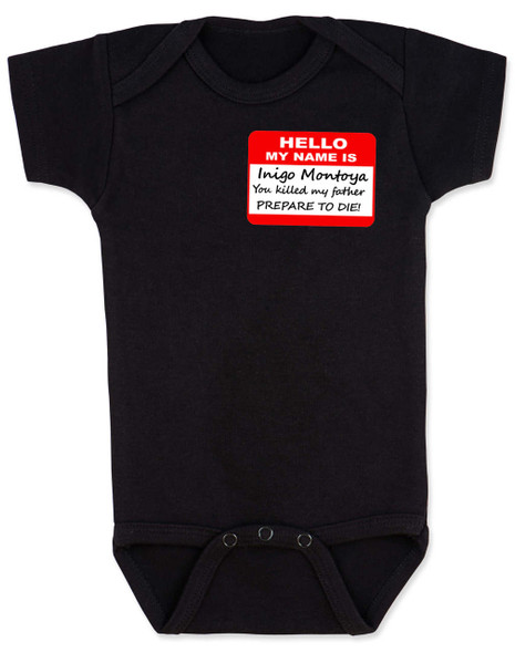 Hello My Name is Inigo Montoya, Princess Bride baby Bodysuit, Princess bride quote, classic movie baby gift, inigo montoya baby bodysuit, black