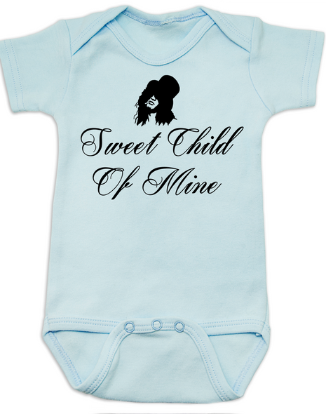 Slash, Sweet Child of Mine baby Bodysuit, guns and roses band onsie, blue