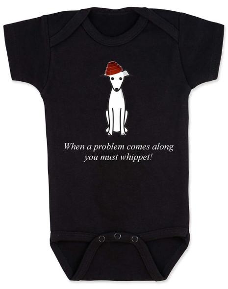You must whippet baby Bodysuit, Devo, Whip it, whippet dog, black