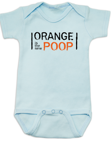 Orange Is The New Black baby Bodysuit, Orange is the new poop onsie, Netflix and chill, TV Show infant bodysuit, blue