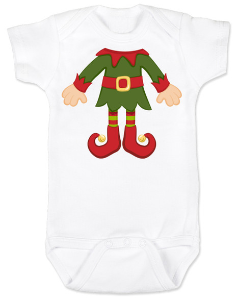 Elf Body Christmas Bodysuit, Little bodies baby Onsie, Santas little elf, Christmas party infant bodysuit, cute funny christmas baby clothes, santas helper, Elf Baby, white