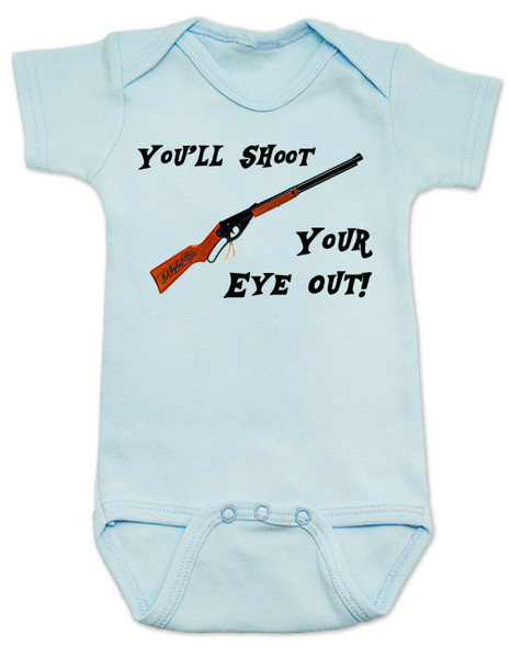 Christmas Story Movie Baby Bodysuit, Blue, You'll Shoot Your Eye Out, Christmas Vacation movie baby clothes, funny christmas Bodysuit, funny christmas baby clothes, funny holiday baby Bodysuit, blue