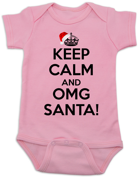 Keep Calm OMG Santa Bodysuit, Keep Calm, funny christmas baby onsie, funny christmas baby clothes, pink