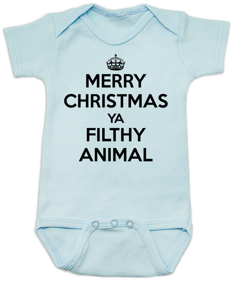 Merry Christmas Ya Filthy Animal, Keep Calm Christmas baby Bodysuit, Home Alone, Keep Calm Filthy Animal baby onsie, funny christmas baby clothes, blue
