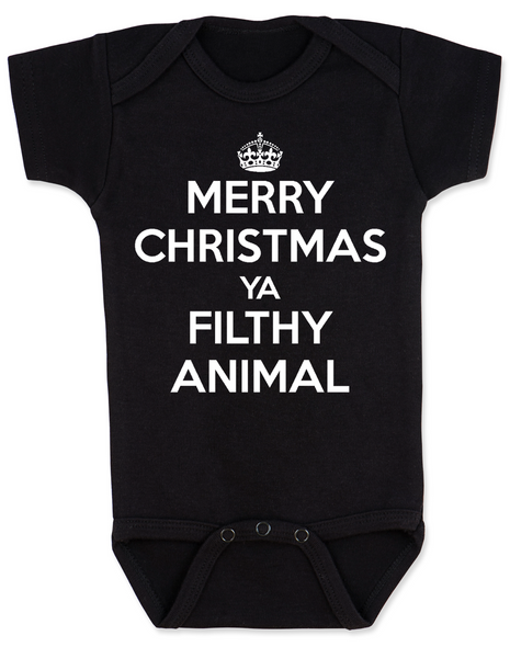 Merry Christmas Ya Filthy Animal, Keep Calm Christmas baby Bodysuit, Home Alone, Keep Calm Filthy Animal baby onsie, funny christmas baby clothes, black