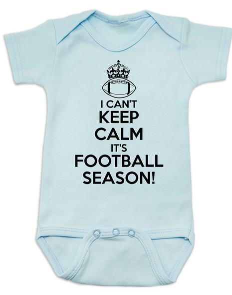 Keep calm it's football season baby Bodysuit, funny keep calm baby Bodysuit, little football fan onsie, watching football with daddy, future football fan, I can't keep calm infant bodysuit, ready for football baby Bodysuit, blue