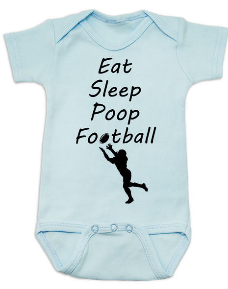 Eat sleep poop football baby Bodysuit, Funny Football Baby Onsie, Sports baby Bodysuits, daddy's football buddy baby Bodysuit, little football fan, future football fan, ready for football baby Bodysuit, blue