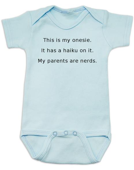 Haiku Baby Bodysuit, Nerdy baby onsie, My parents are nerds, blue