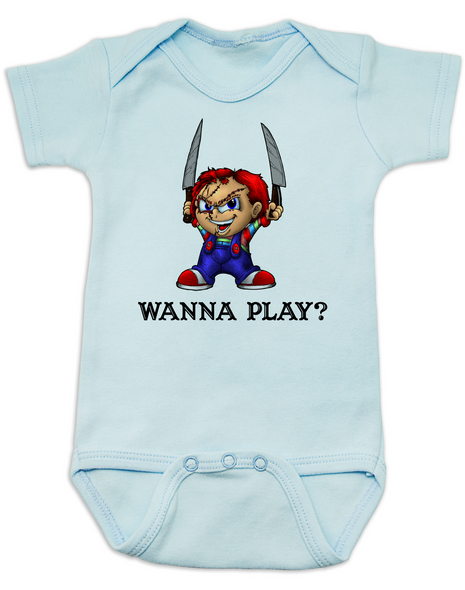 Chucky Bodysuit, Chucky Baby bodysuit, Unique Halloween baby Bodysuit, horror movie baby onsie, Chucky Wanna Play?, blue
