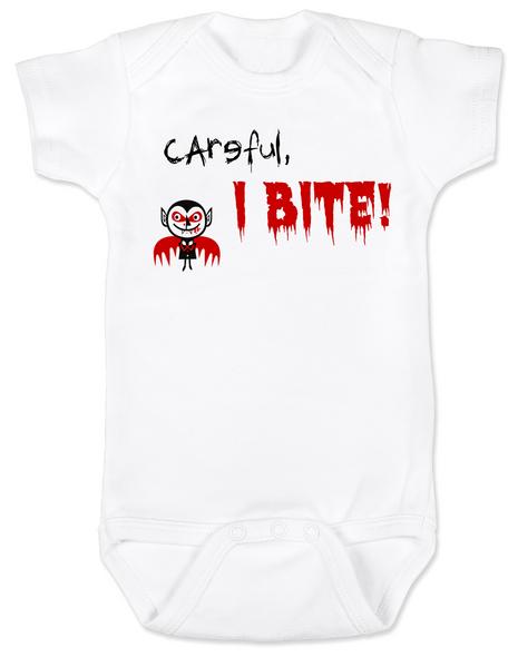 Careful, I Bite BodysuitHalloween BodysuitI Bite Baby bodysuitUnique Halloween BodysuitFunny baby clothesOffensive baby Bodysuit