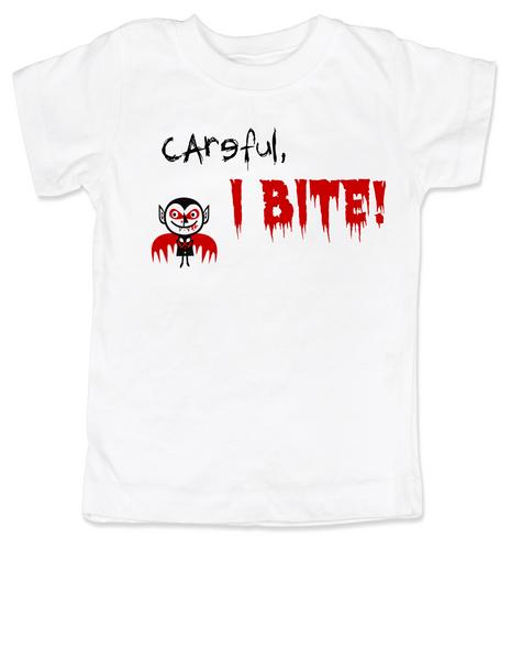 Careful, I BITE toddler T-shirtHalloween Baby ShirtI Bite Baby t-shirtUnique Halloween kids shirtsFunny baby clothesOffensive baby shirtsFunny Halloween Toddler Shirt