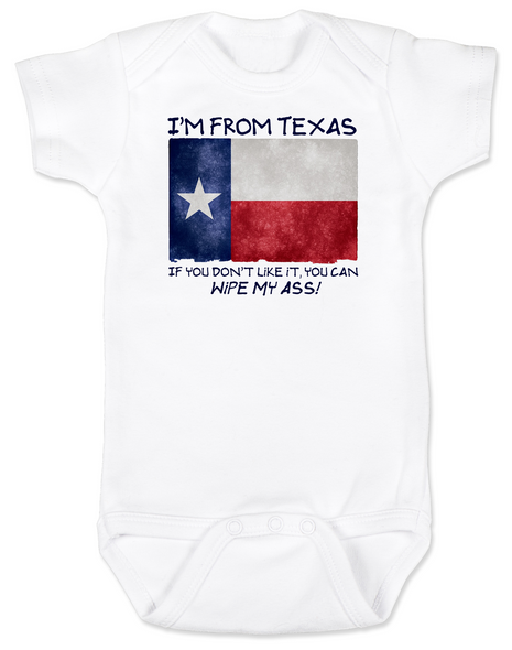 I'm from Texas Baby Bodysuit, I'm from texas if you don't like it you can kiss my ass, texas proud baby Bodysuit, Texas state pride baby, funny texas infant bodysuit, funny texas baby shower gift, funny texas onsie, Funny Texas Bodysuit, Texas Born Baby