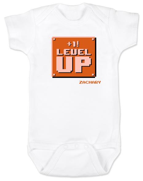 1-UP Baby Bodysuit, Personalized Birthday Bodysuit, Personalized Geeky baby, Personalized Gamer Baby, Gamer Baby Birthday, Geeky Gamer Bodysuit, Video Game baby Bodysuit, 80's Baby Bodysuit with custom name