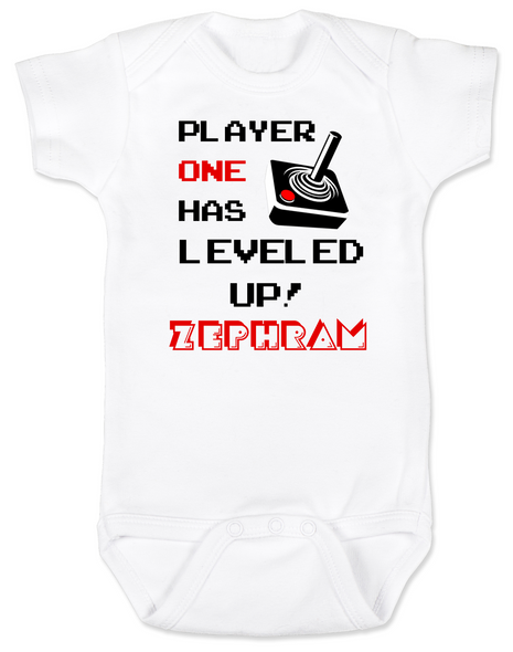 Player has Leveled Up Baby Bodysuit, Personalized Birthday Bodysuit, Gamer Baby Birthday, Geeky Gamer bodysuit, Video Game baby onsie, 80's Baby, Personalized Geeky baby