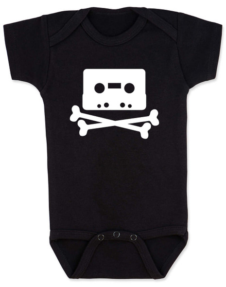 Piratebay baby Bodysuit, Internet Pirate onsie, classic cassette tape, download music, music tape, skull and crossbones, black