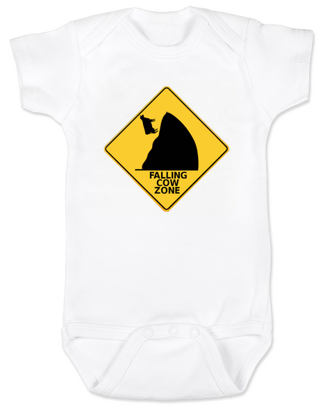 falling cow baby Bodysuit, silly random baby onsie, warning sign infant bodysuit, watch out for falling cows, cow tipping, falling cow zone