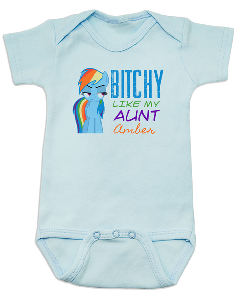 Bitchy like my aunt baby Bodysuit, Personalized cool aunt onsie, custom aunt baby bodysuit, personalized aunt baby Bodysuit, badass aunt, I love my aunt, my little pony, Rainbow Dash baby Bodysuit, blue
