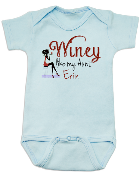 Winey Aunt Baby Bodysuit Blue, Winey like my Aunt, Badass Auntie, Love my cool aunt, Personalized Aunt Bodysuit