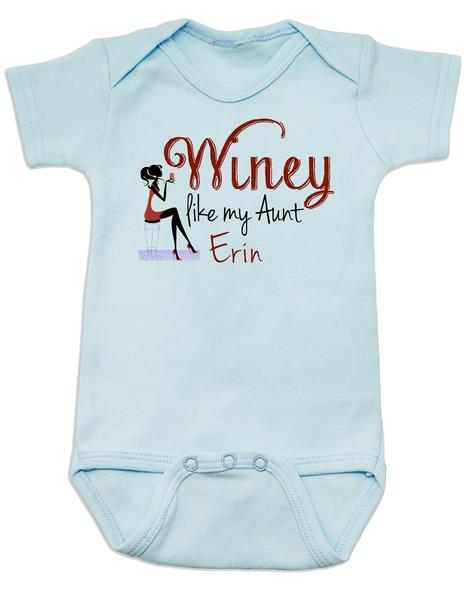 Winey Aunt Baby Bodysuit Blue, Winey like my Aunt, Badass Auntie, Love my cool aunt, Personalized Aunt Bodysuit